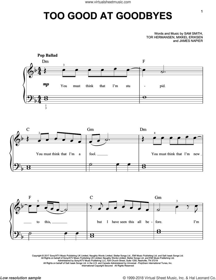 Too Good At Goodbyes, (beginner) sheet music for piano solo by Sam Smith, James Napier, Mikkel Eriksen and Tor Erik Hermansen, beginner skill level