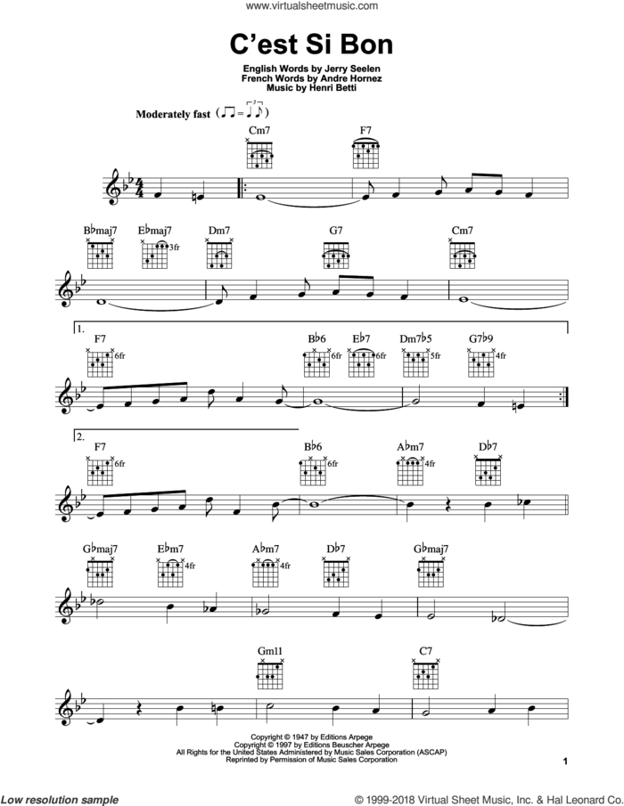 C'est Si Bon sheet music for guitar solo (chords) by Henri Betti, Andre Hornez and Jerry Seelen, easy guitar (chords)
