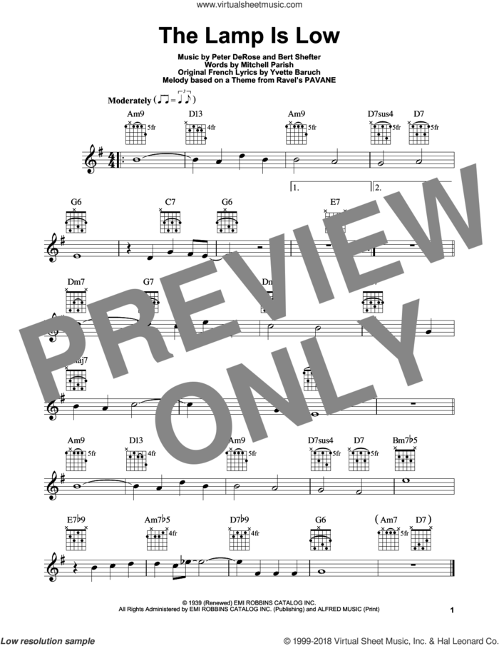 The Lamp Is Low sheet music for guitar solo (chords) by Mitchell Parish, Bert Shefter, Peter DeRose and Yvette Baruch, easy guitar (chords)