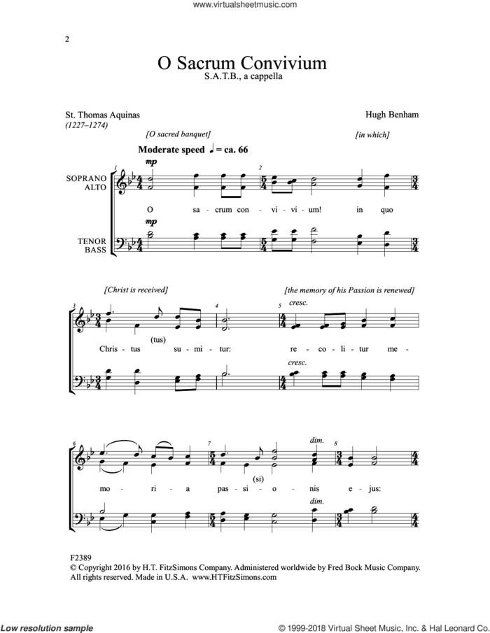 O Sacrum Convivium sheet music for choir (SATB: soprano, alto, tenor, bass) by Hugh Benham and St. Thomas Aquinas, intermediate skill level