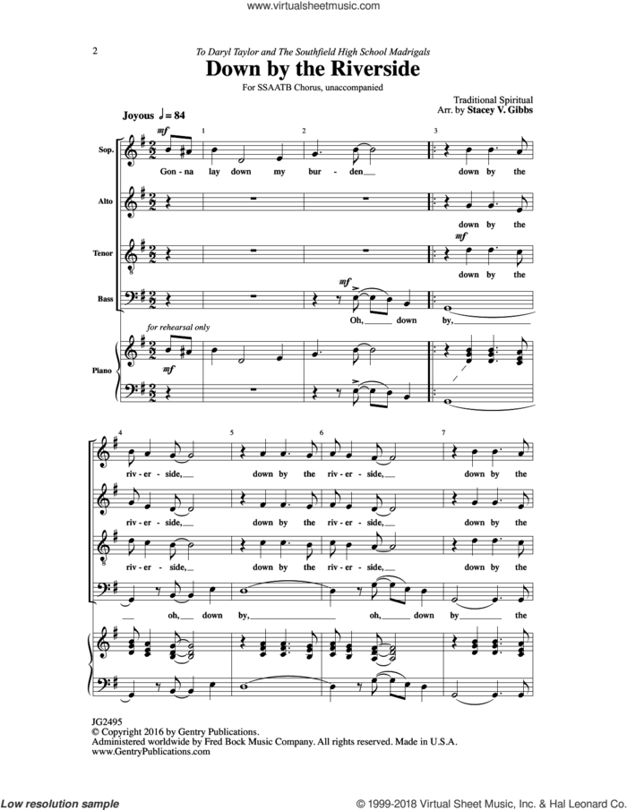 Down by the Riverside sheet music for choir (SSAATB) by Stacey V. Gibbs, intermediate skill level