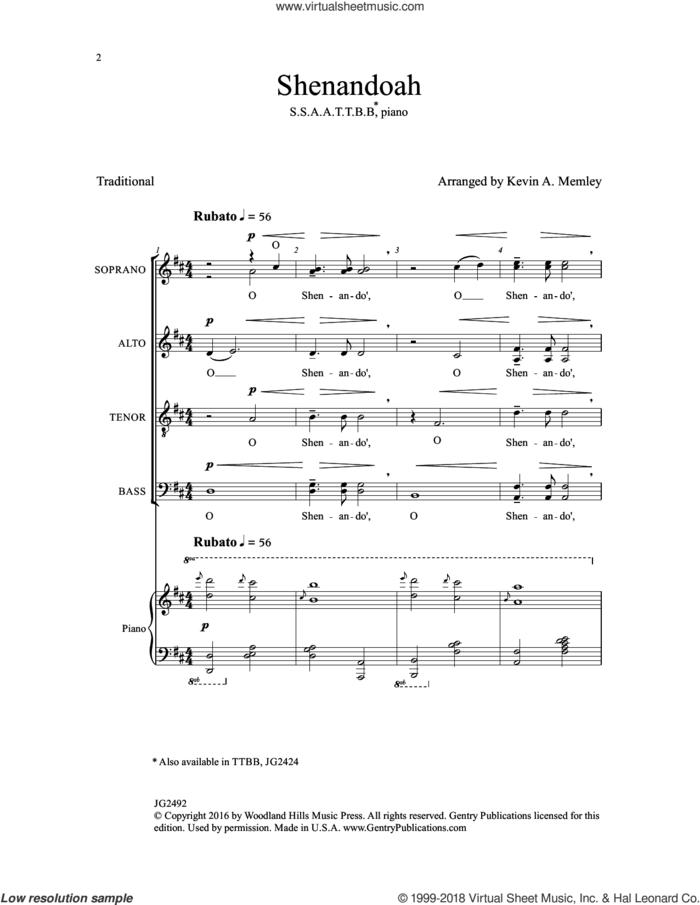 Shenandoah sheet music for choir (SSAATTBB) by Kevin A. Memley, intermediate skill level