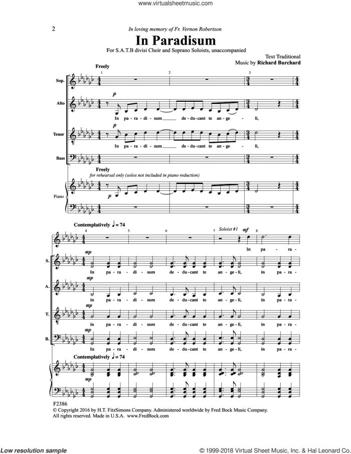 In Paradisum sheet music for choir (SATB: soprano, alto, tenor, bass) by Richard Burchard, intermediate skill level