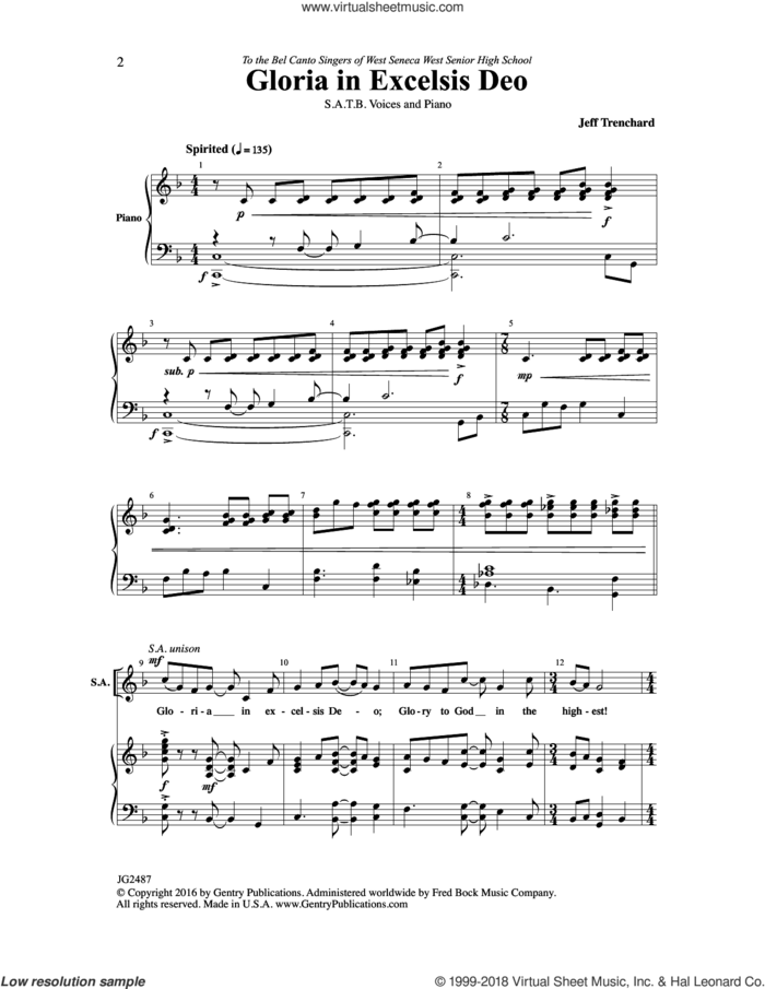 Gloria in Excelsis Deo sheet music for choir (SATB: soprano, alto, tenor, bass) by Jeff Trenchard, intermediate skill level