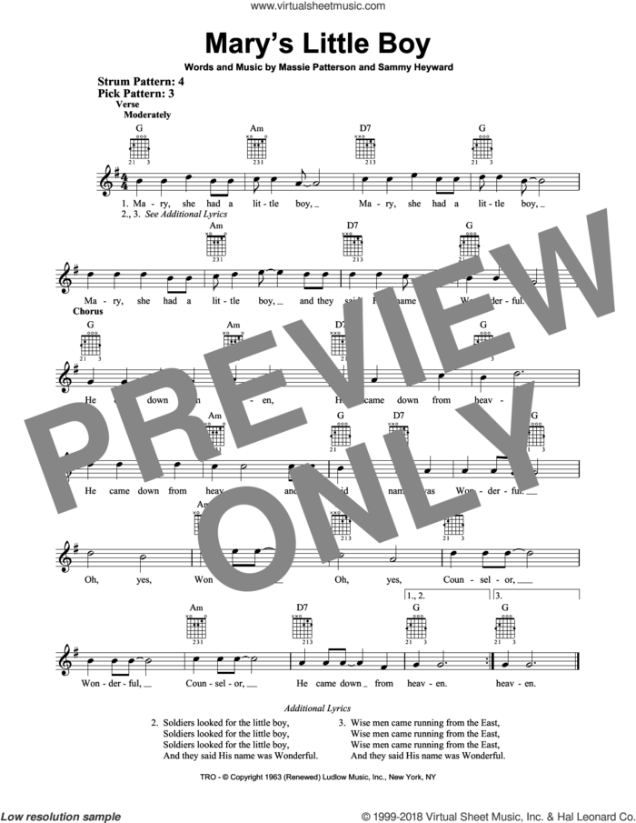 Mary's Little Boy sheet music for guitar solo (chords) by Sammy Heyward and Massie Patterson, easy guitar (chords)