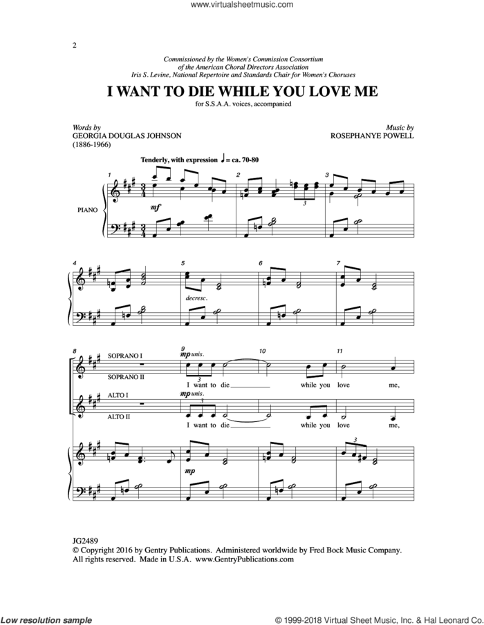 I Want to Die While You Love Me sheet music for choir (SSAA: soprano, alto) by Georgia Douglas Johnson and Rosephanye Powell, intermediate skill level