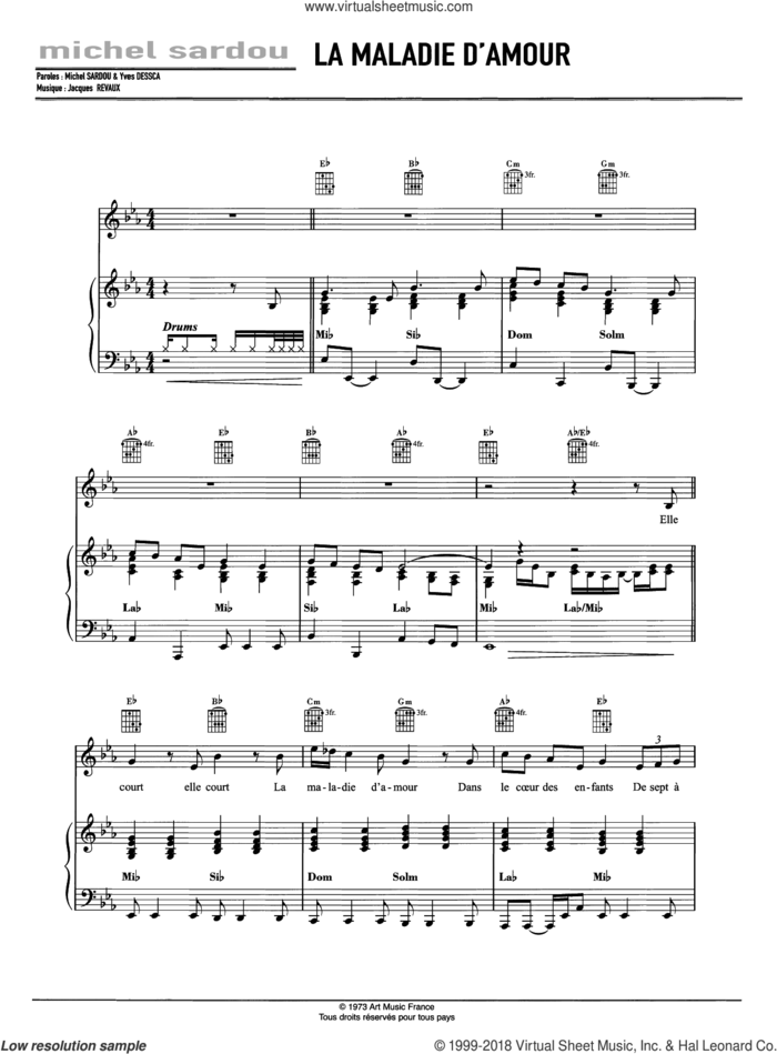 La Maladie D'Amour sheet music for voice, piano or guitar by Michel Sardou and Jacques Revaux, intermediate skill level