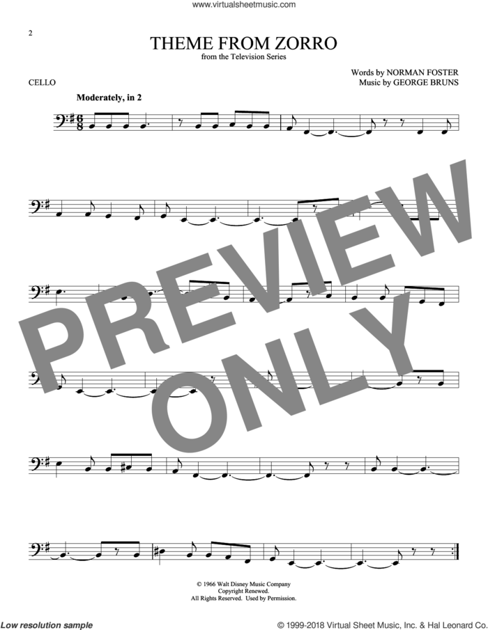 Theme From Zorro sheet music for cello solo by George Bruns and Norman Foster, intermediate skill level