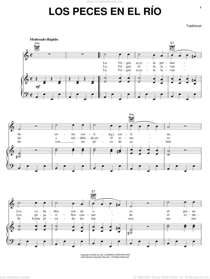 Los Peces En El Rio sheet music for voice, piano or guitar, intermediate skill level