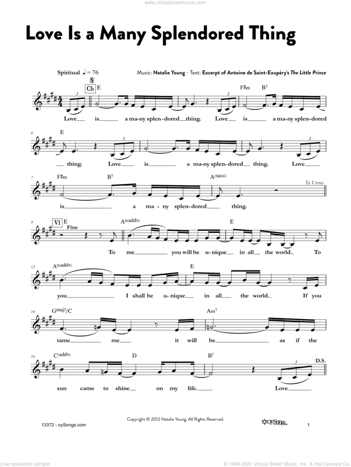 Love Is a Many Splendored Thing sheet music for voice and other instruments (fake book) by Natalie Young, intermediate skill level