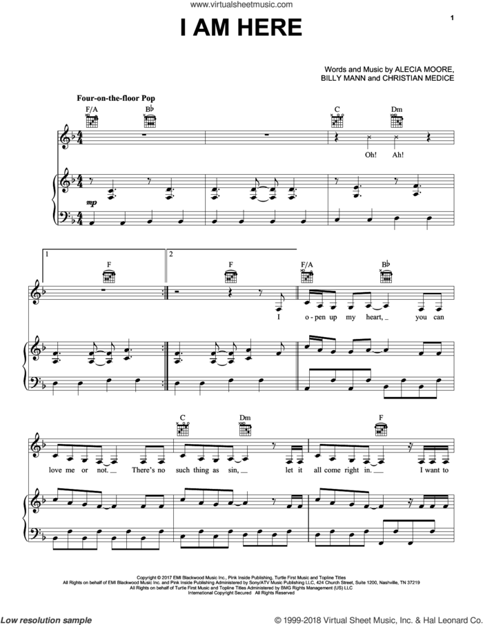 I Am Here sheet music for voice, piano or guitar by Alecia Moore, Miscellaneous, BILLY MANN and Christian Medice, intermediate skill level
