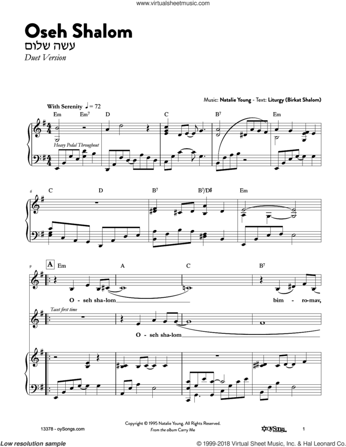 Oseh Shalom sheet music for voice and piano by Natalie Young, intermediate skill level