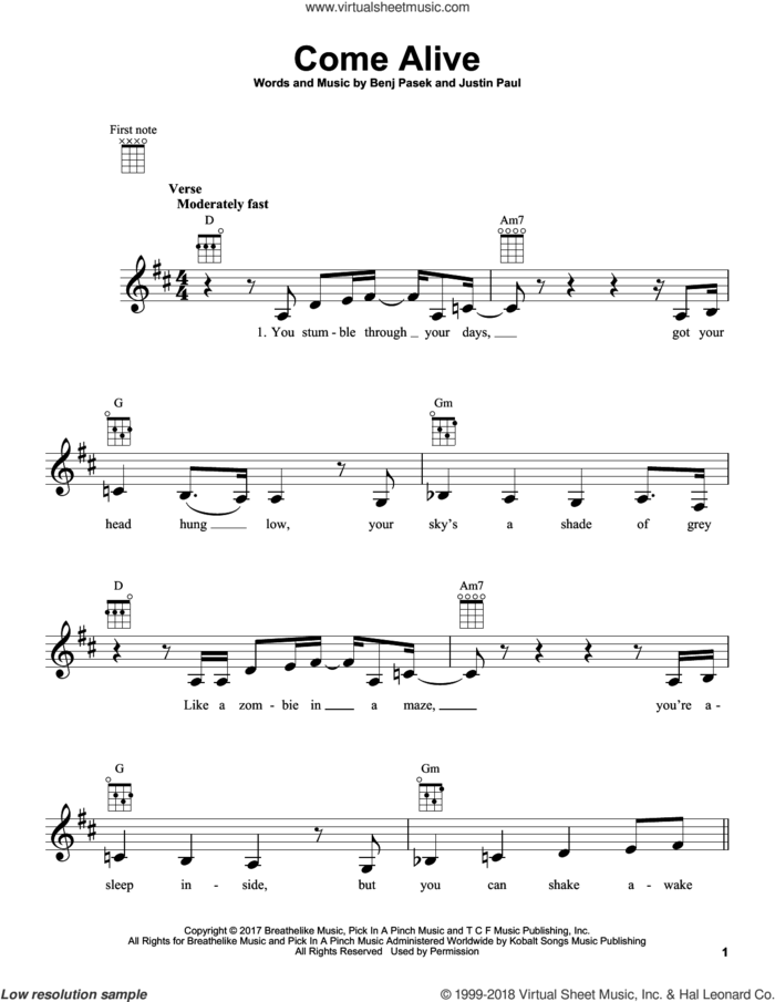 Come Alive (from The Greatest Showman) sheet music for ukulele by Pasek & Paul, Benj Pasek and Justin Paul, intermediate skill level
