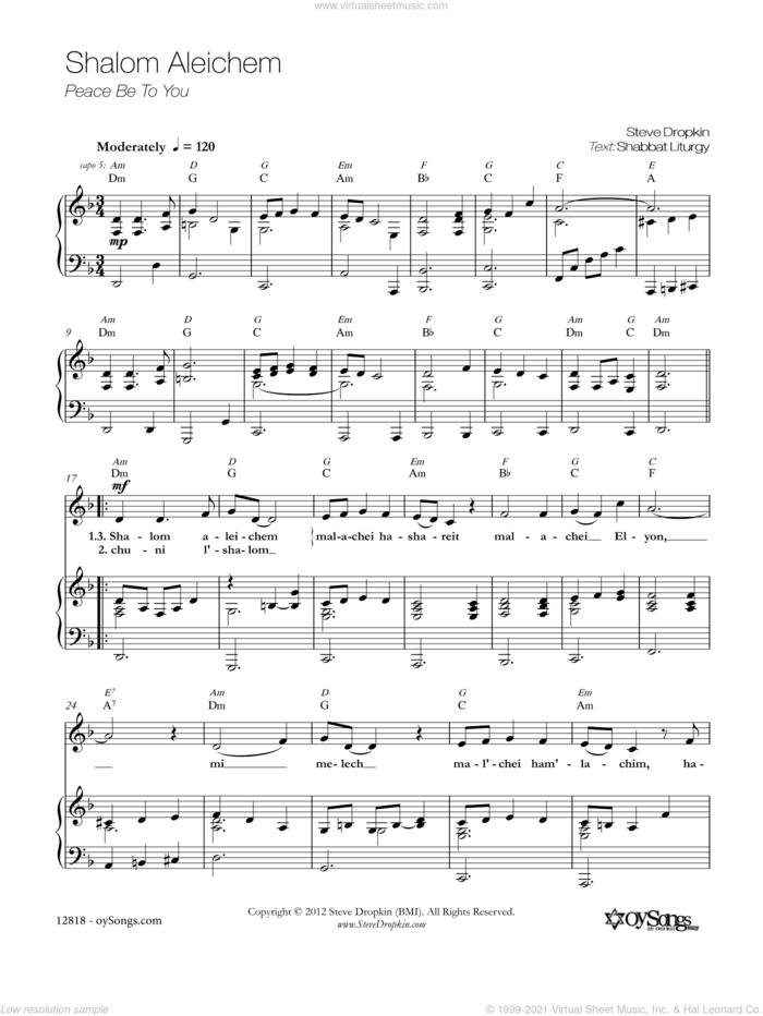 Shalom Aleichem sheet music for voice, piano or guitar by Steve Dropkin, intermediate skill level