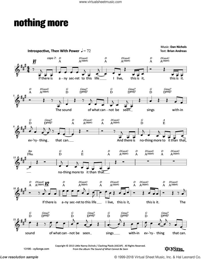Nothing More sheet music for voice and other instruments (fake book) by Dan Nichols, intermediate skill level