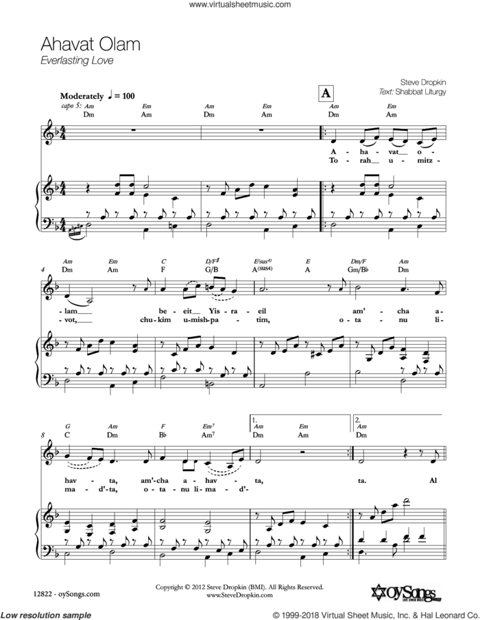 Ahavat Olam sheet music for voice, piano or guitar by Steve Dropkin, intermediate skill level