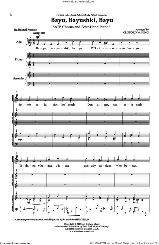 Bayu, Bayushki, Bayu sheet music for choir (SATB: soprano, alto, tenor, bass) by Clifford W. King and Andre de Quadros, intermediate skill level