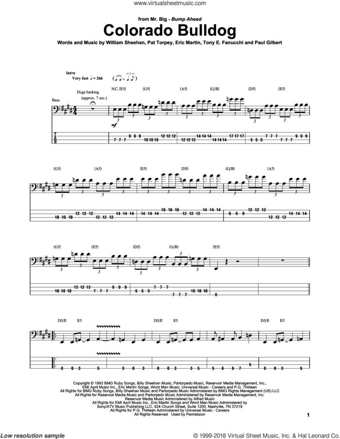 Colorado Bulldog sheet music for bass (tablature) (bass guitar) by Mr. Big, Billy Sheehan, Eric Martin, Pat Torpey, Paul Gilbert and Tony E. Fanucchi, intermediate skill level