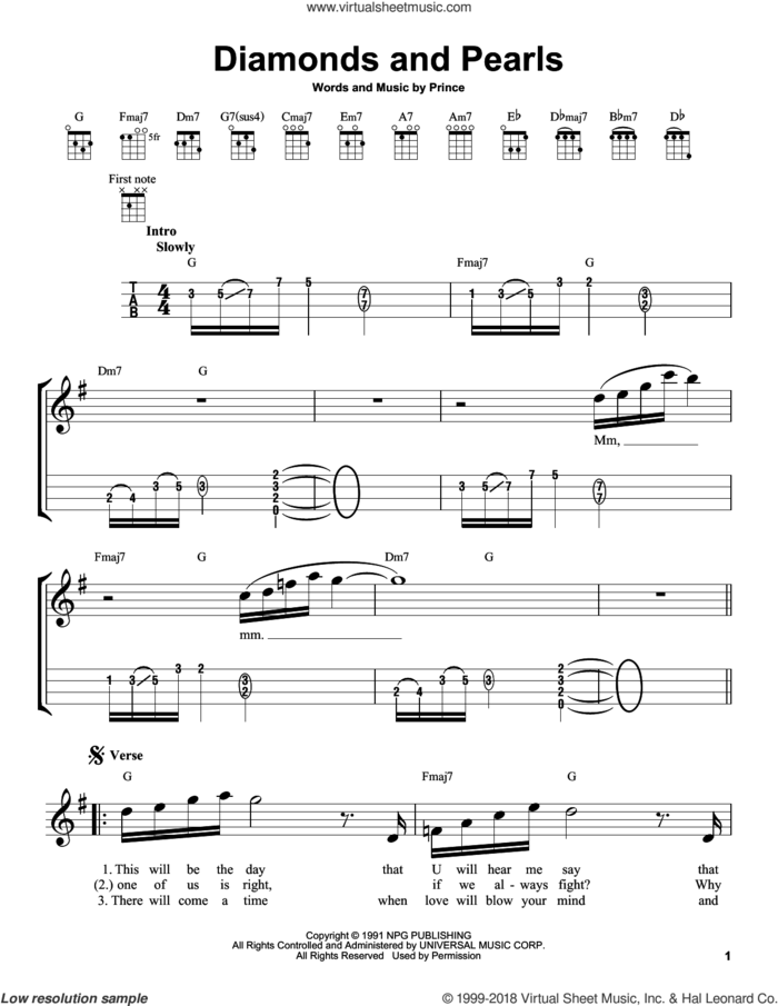 Diamonds And Pearls sheet music for ukulele by Prince, intermediate skill level