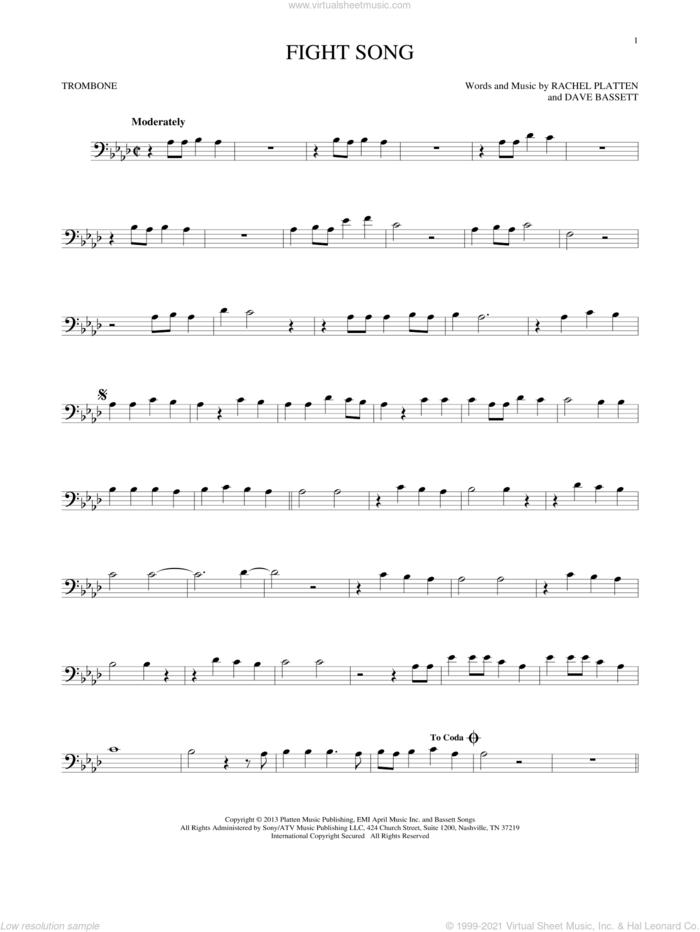 Fight Song sheet music for trombone solo by Rachel Platten and Dave Bassett, intermediate skill level