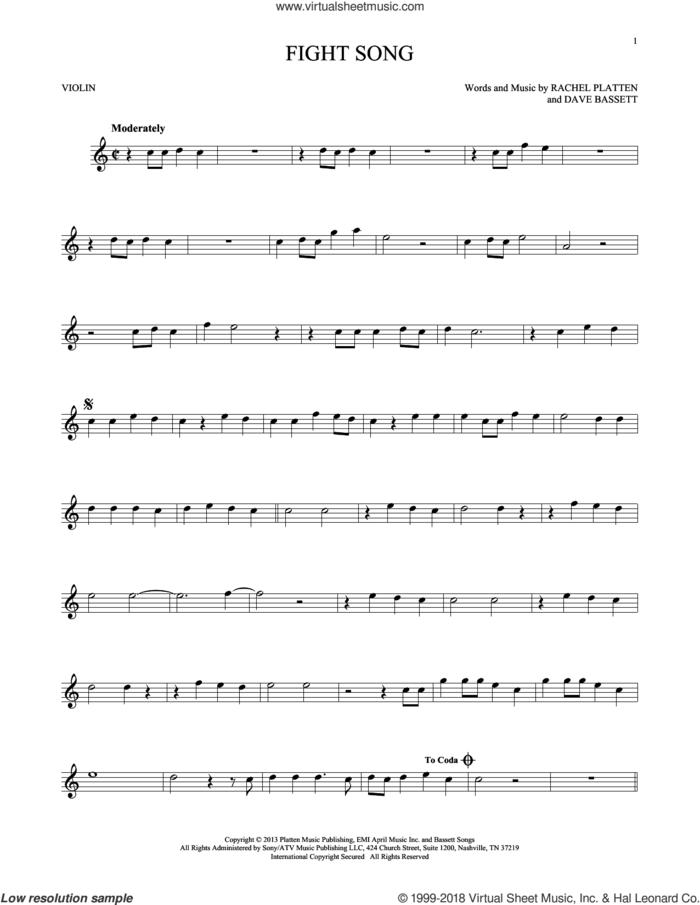 Fight Song sheet music for violin solo by Rachel Platten and Dave Bassett, intermediate skill level