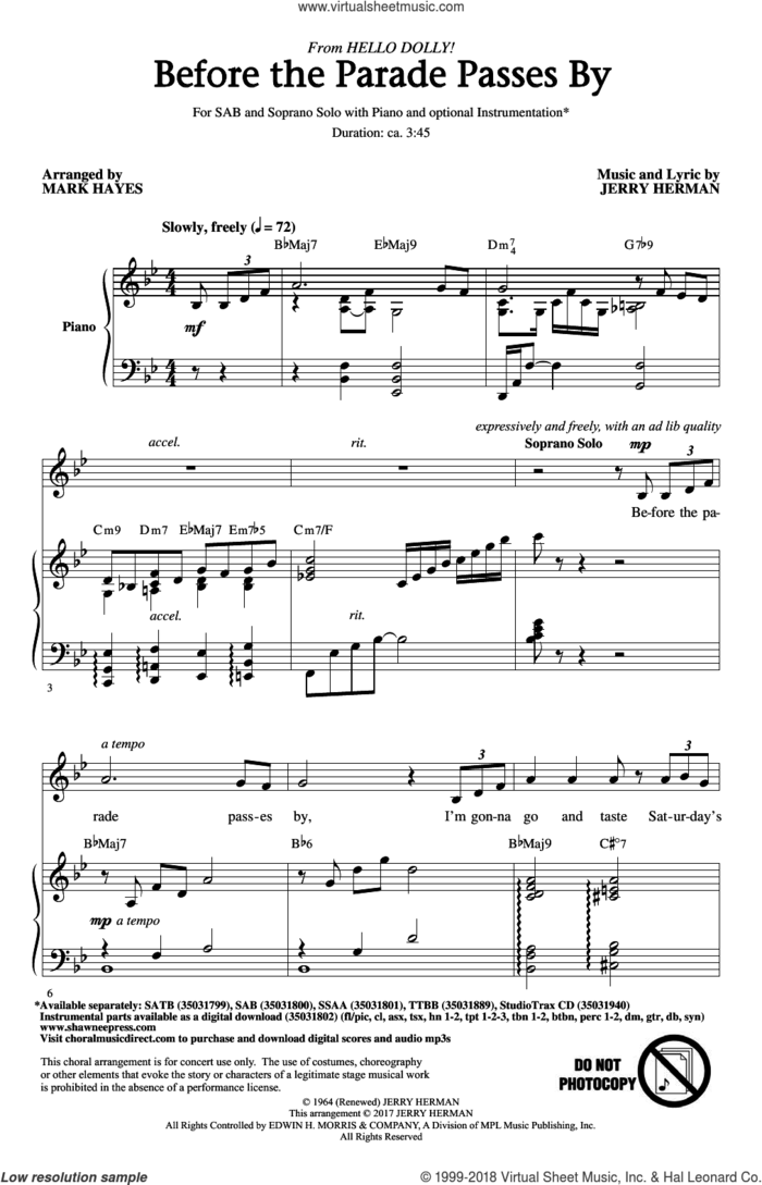 Before The Parade Passes By sheet music for choir (SAB: soprano, alto, bass) by Jerry Herman and Mark Hayes, intermediate skill level