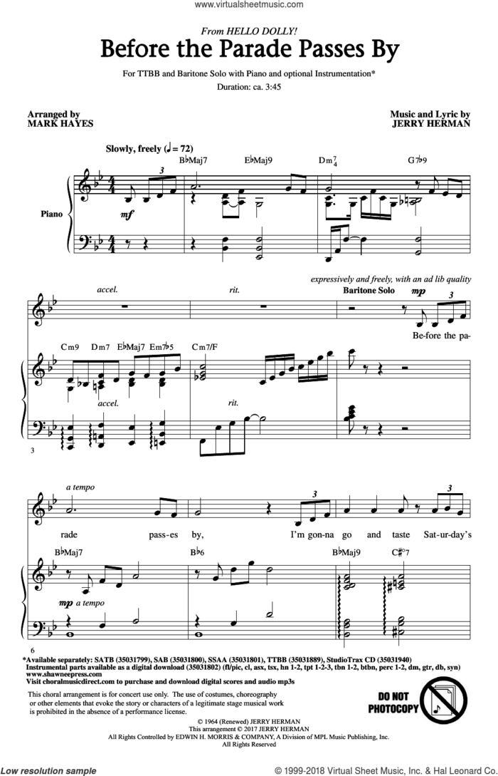 Before The Parade Passes By sheet music for choir (TTBB: tenor, bass) by Jerry Herman and Mark Hayes, intermediate skill level