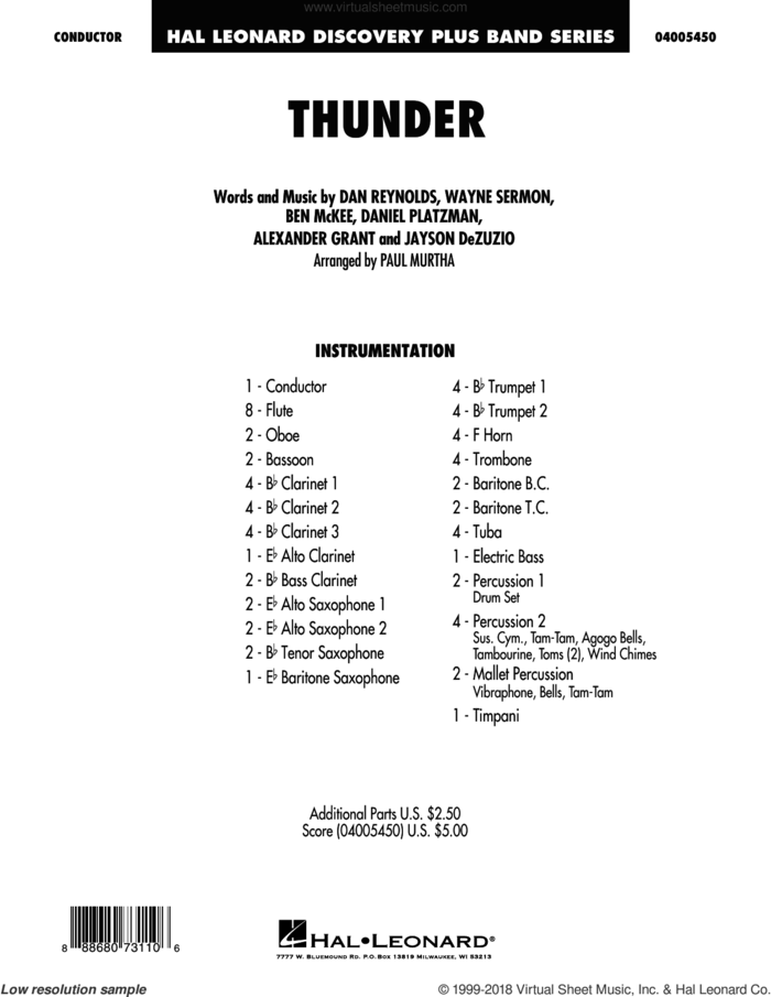 Thunder (COMPLETE) sheet music for concert band by Paul Murtha, Alexander Grant, Ben McKee, Dan Reynolds, Daniel Platzman, Imagine Dragons, Jayson Dezuzio and Wayne Sermon, intermediate skill level