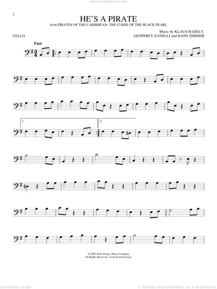 He's A Pirate (from Pirates Of The Caribbean: The Curse of the Black Pearl) sheet music for cello solo by Klaus Badelt, Geoffrey Zanelli and Hans Zimmer, classical score, intermediate skill level