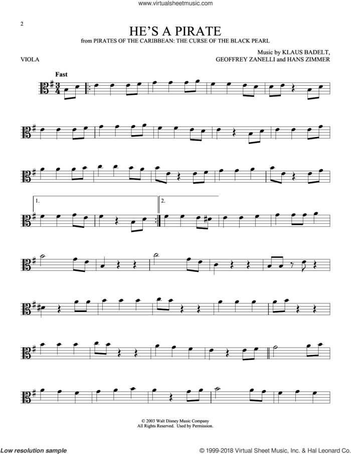 He's A Pirate (from Pirates Of The Caribbean: The Curse of the Black Pearl) sheet music for viola solo by Klaus Badelt, Geoffrey Zanelli and Hans Zimmer, classical score, intermediate skill level