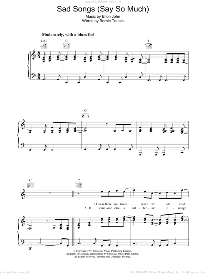 Sad Songs (Say So Much) sheet music for voice, piano or guitar by Elton John and Bernie Taupin, intermediate skill level