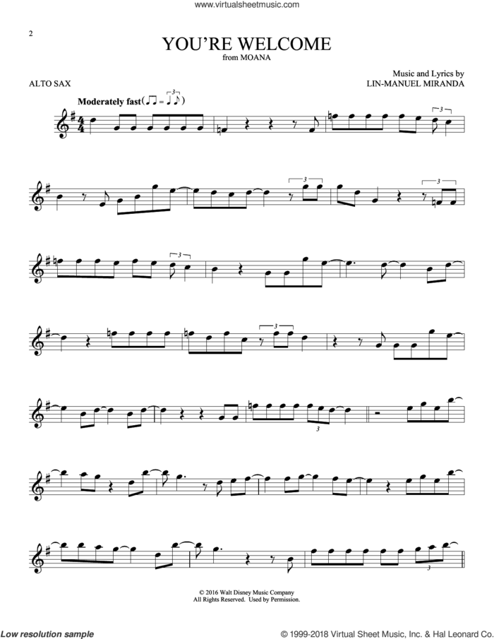 You're Welcome (from Moana) sheet music for alto saxophone solo by Lin-Manuel Miranda, intermediate skill level