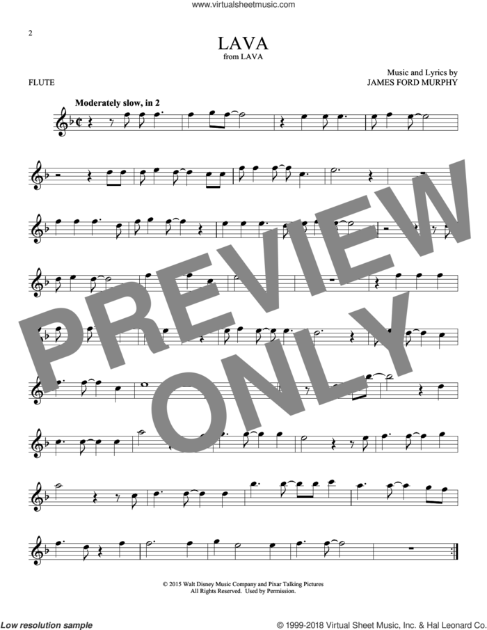 Lava sheet music for flute solo by James Ford Murphy, intermediate skill level