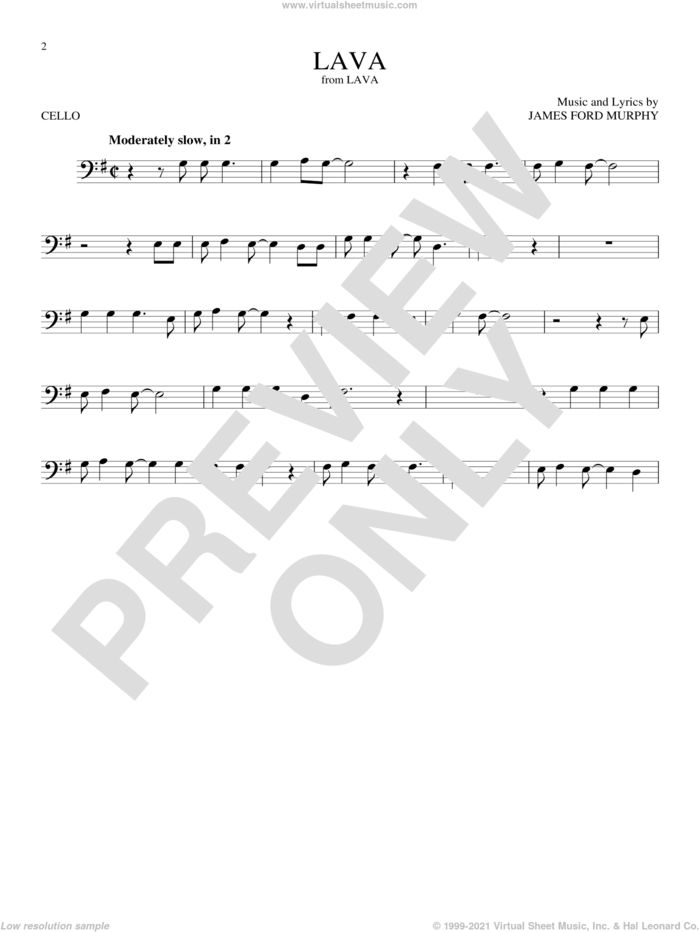 Lava sheet music for cello solo by James Ford Murphy, intermediate skill level