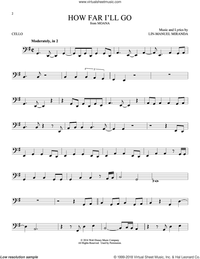 How Far I'll Go (from Moana) sheet music for cello solo by Alessia Cara and Lin-Manuel Miranda, intermediate skill level