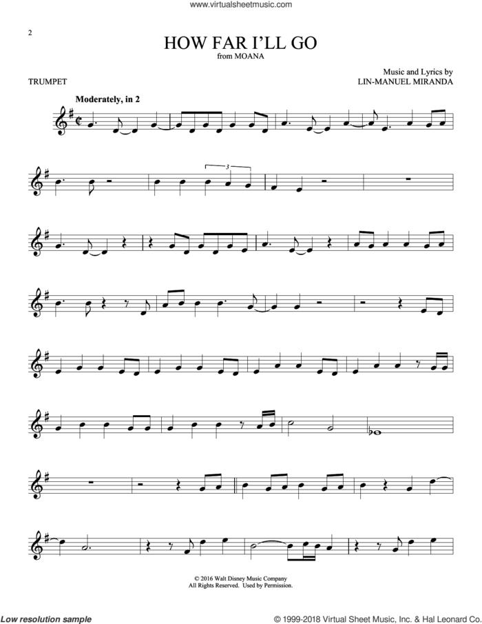 How Far I'll Go (from Moana) sheet music for trumpet solo by Alessia Cara and Lin-Manuel Miranda, intermediate skill level