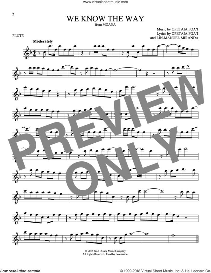We Know The Way (from Moana) sheet music for flute solo by Opetaia Foa'i & Lin-Manuel Miranda and Lin-Manuel Miranda, intermediate skill level