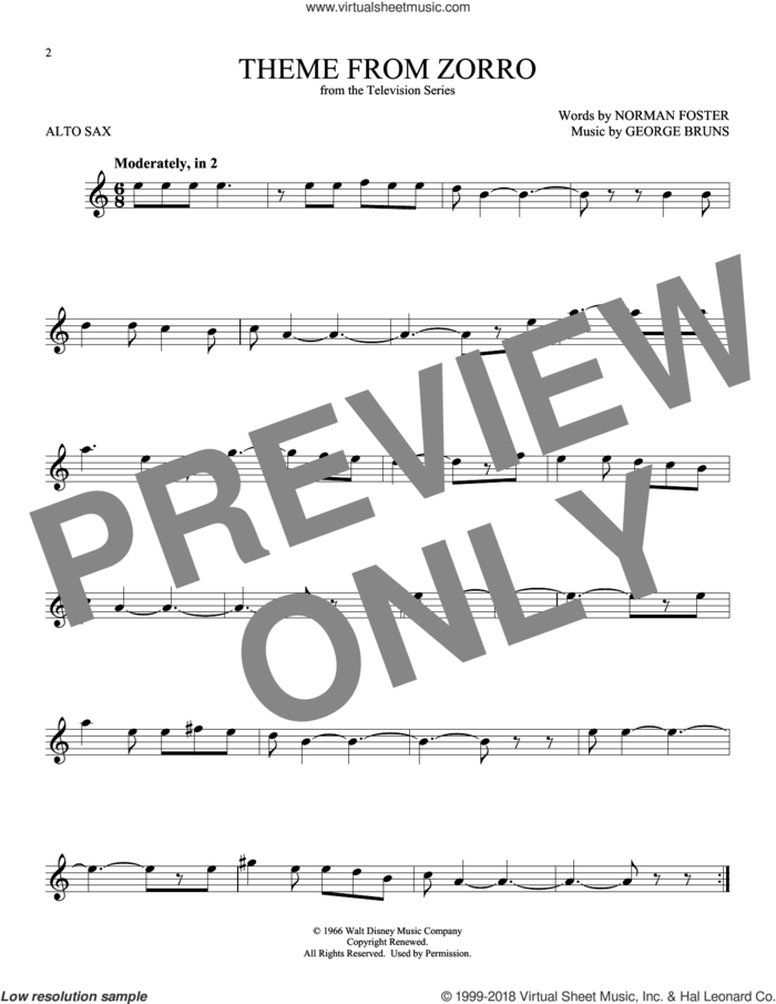 Theme From Zorro sheet music for alto saxophone solo by George Bruns and Norman Foster, intermediate skill level