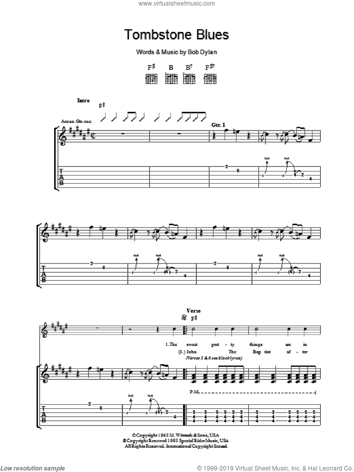 Tombstone Blues sheet music for guitar (tablature) by Bob Dylan, intermediate skill level