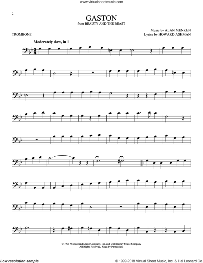 Gaston (from Beauty And The Beast) sheet music for trombone solo by Alan Menken and Howard Ashman, intermediate skill level