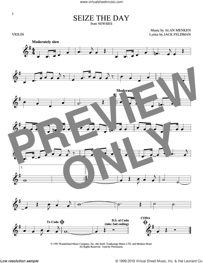 Seize The Day (from Newsies) sheet music for violin solo by Alan Menken and Jack Feldman, intermediate skill level