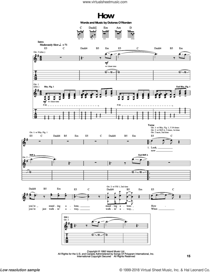 How sheet music for guitar (tablature) by The Cranberries, intermediate skill level
