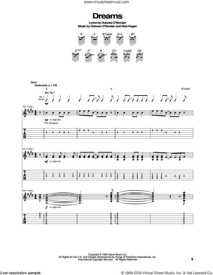 Dreams sheet music for guitar (tablature) by The Cranberries and Noel Hogan, intermediate skill level