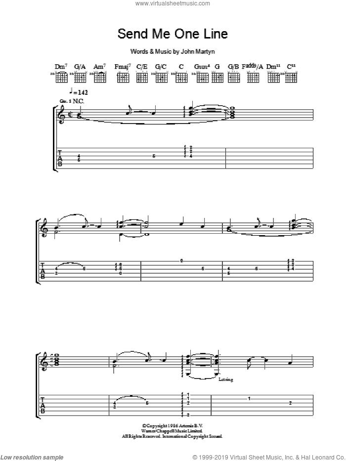 Send Me One Line sheet music for guitar (tablature) by John Martyn, intermediate skill level