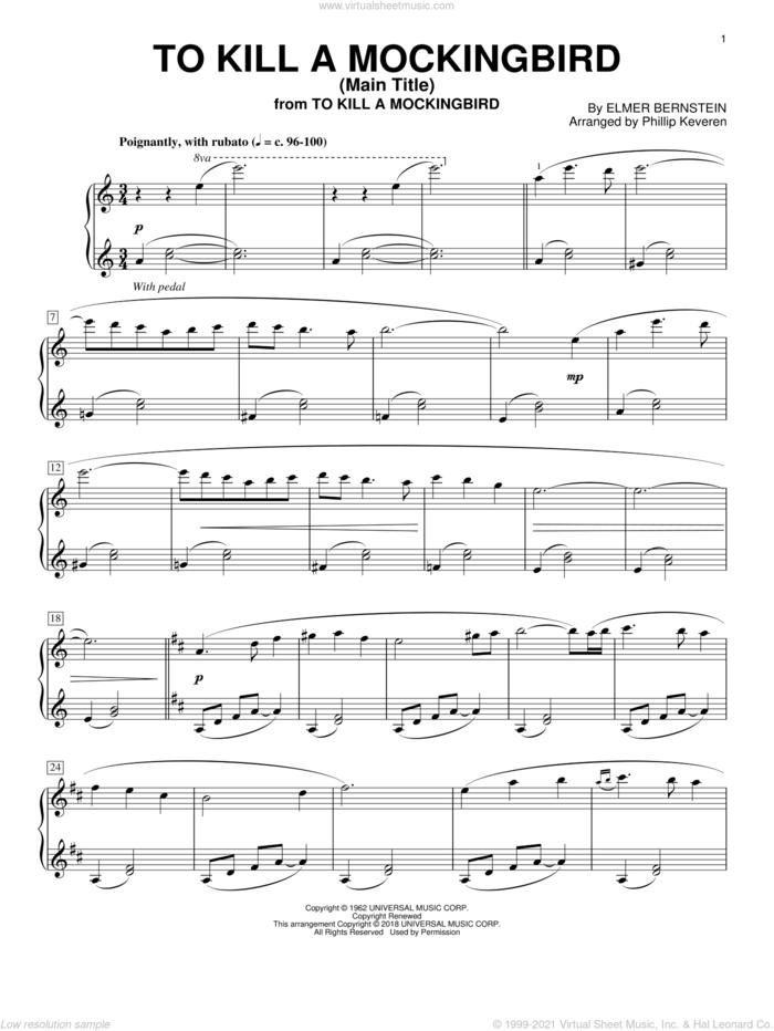 To Kill A Mockingbird - Main Title (arr. Phillip Keveren) sheet music for piano solo by Elmer Bernstein and Phillip Keveren, intermediate skill level