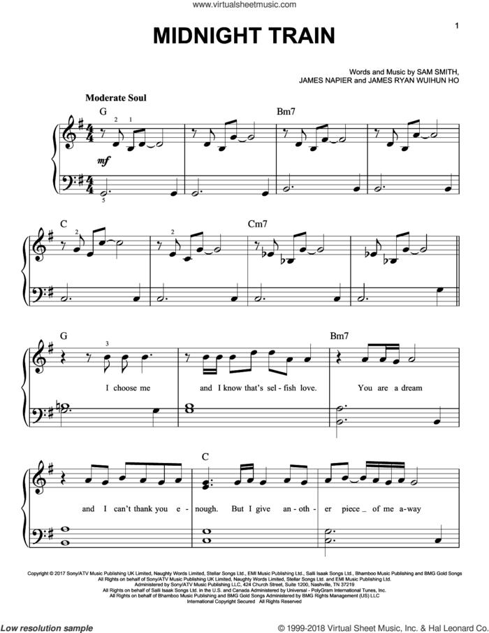Midnight Train sheet music for piano solo by Sam Smith, James Napier and James Ryan Wuihun Ho, easy skill level