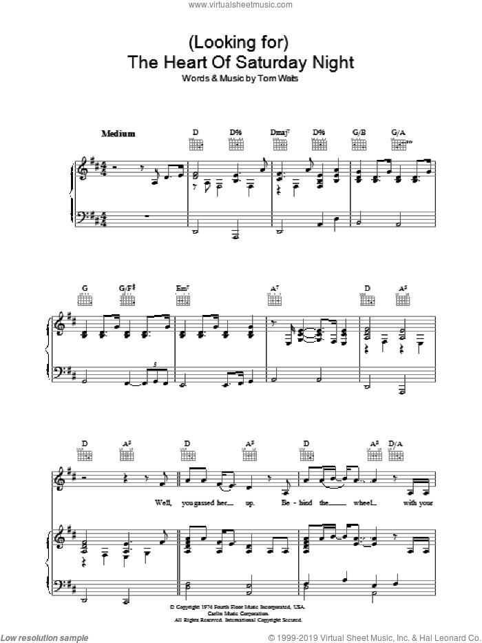 (Looking For) The Heart Of Saturday Night sheet music for voice, piano or guitar by Tom Waits, intermediate skill level