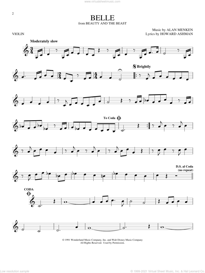 Belle (from Beauty And The Beast) sheet music for violin solo by Alan Menken and Howard Ashman, intermediate skill level