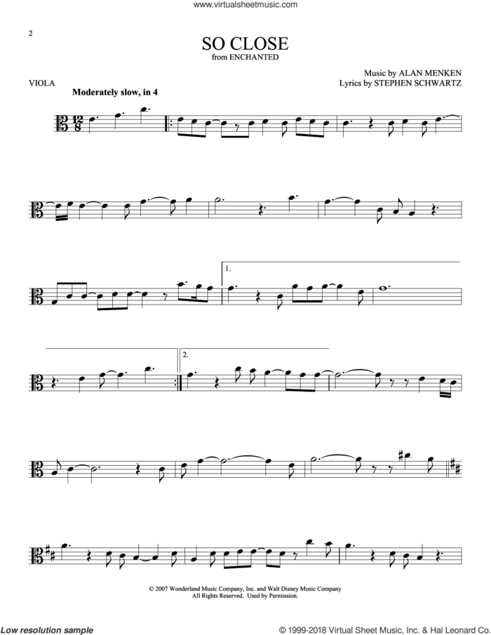 So Close sheet music for viola solo by Alan Menken and Stephen Schwartz, intermediate skill level