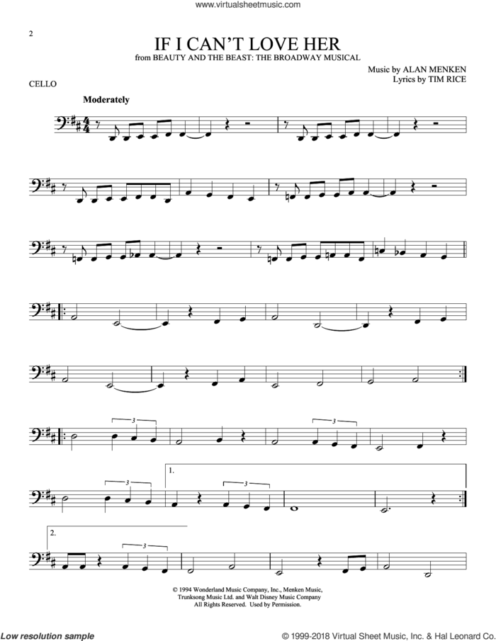 If I Can't Love Her sheet music for cello solo by Tim Rice and Alan Menken, intermediate skill level
